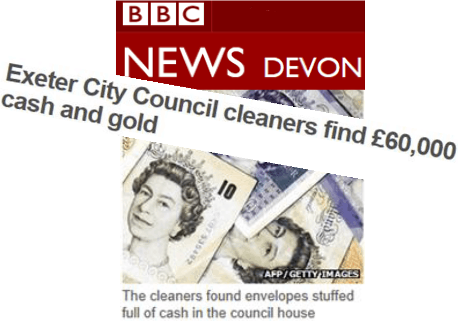 The cleaners found envelopes stuffed full of cash in the council house