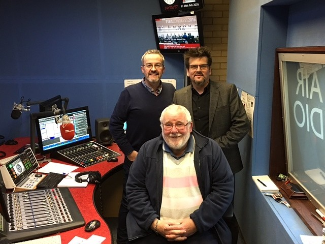 Daniel-Curran-with John-Griff of-BBC-Radio-Northampton-with-local-heir-David-Milne