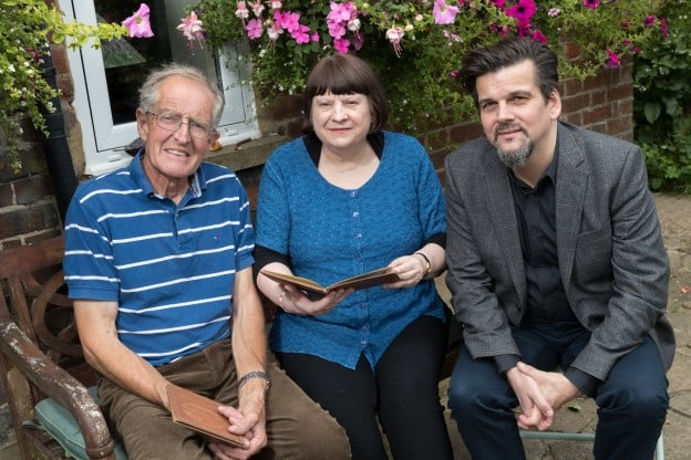 Relative David Newton with the collector Lesley Handly and Danny Curran of Finders International with the books.   Finders International - by  James Rudd at Cherry Tree Farm, Tring, Hertfordshire, England,  on 01 August 2017.    Copyright 2017  owned by James Rudd