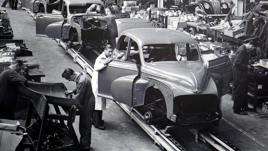 Working in a car manufacturing plant